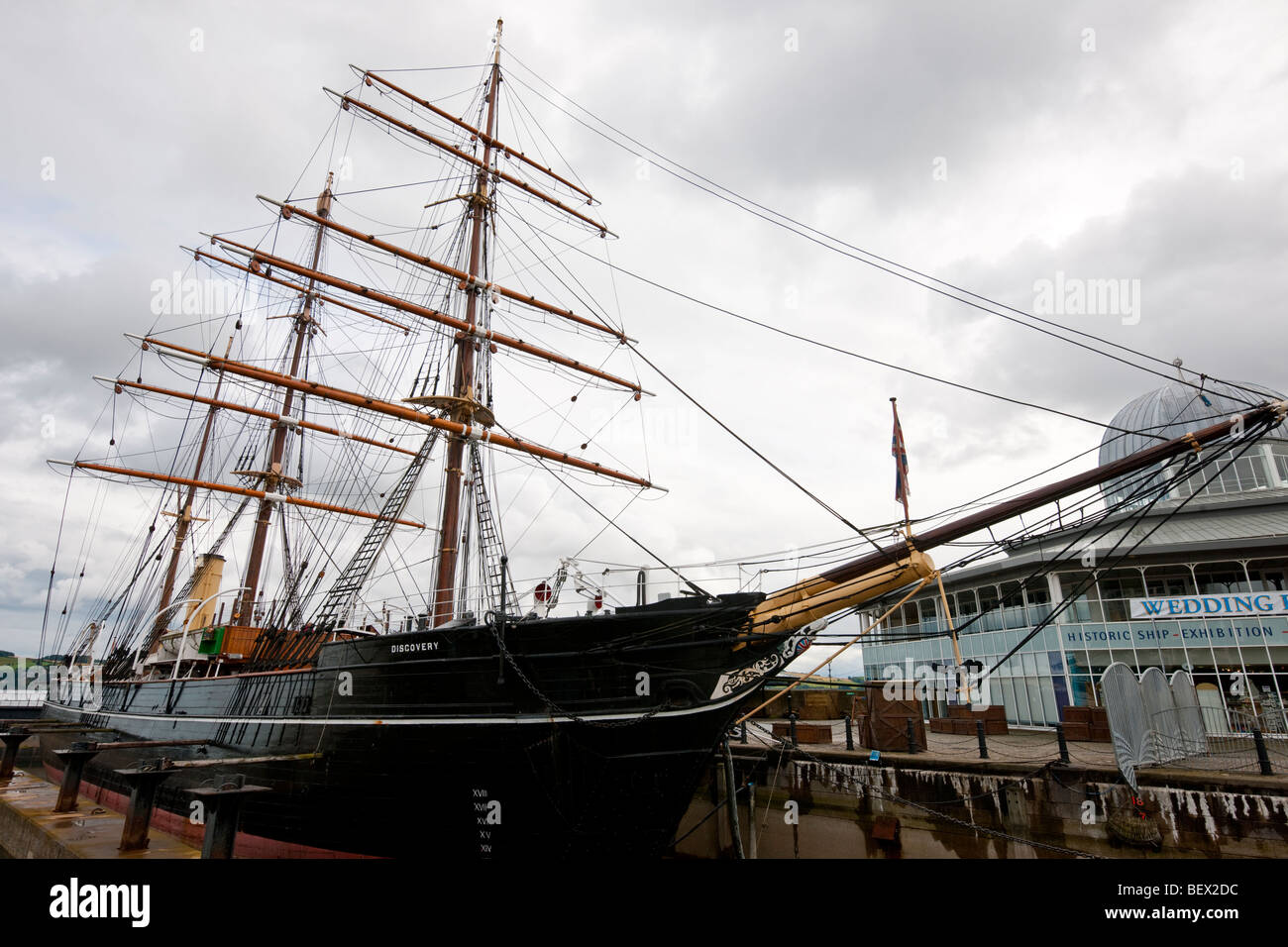 RRS Discovery, Dundee, Scotland. Antarctic expedition ship built in 1901 - Stock Image