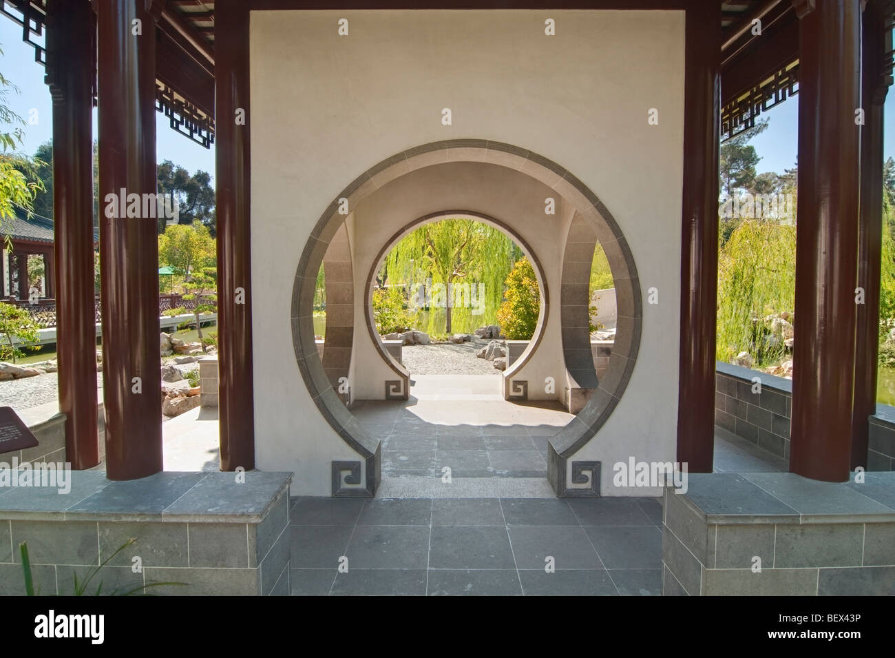 Terrace of the Jade Mirror at the Chinese Garden in the Huntington Library. - Stock Image