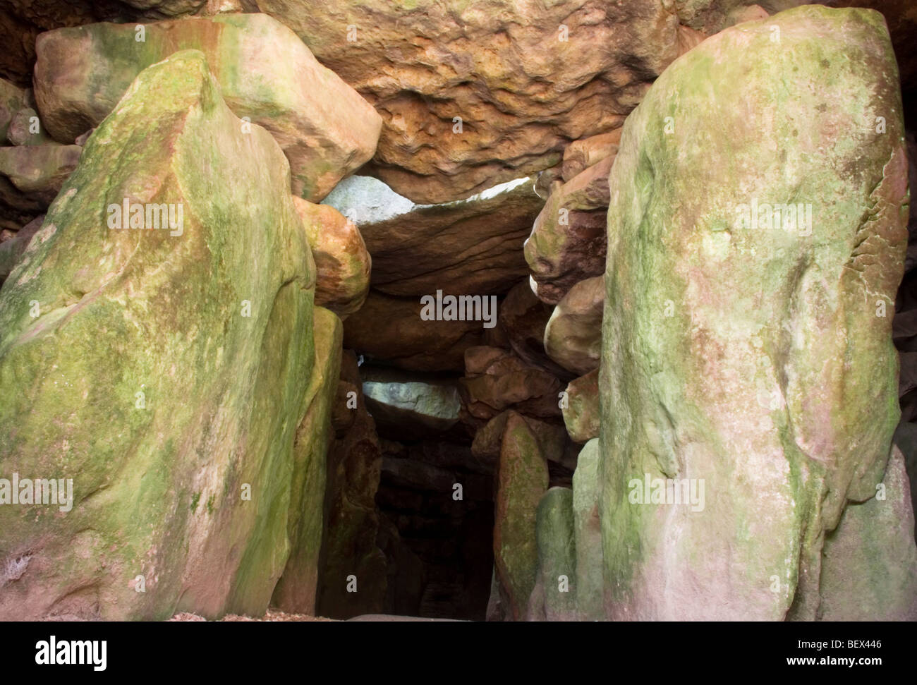 The inside of West Kennet long barrow, England - Stock Image