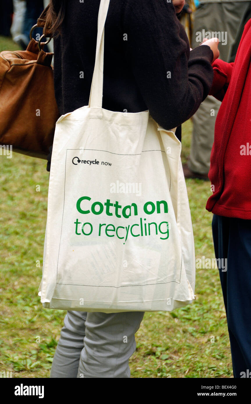 reusable bag with cotton on to recycling printed on the side stock
