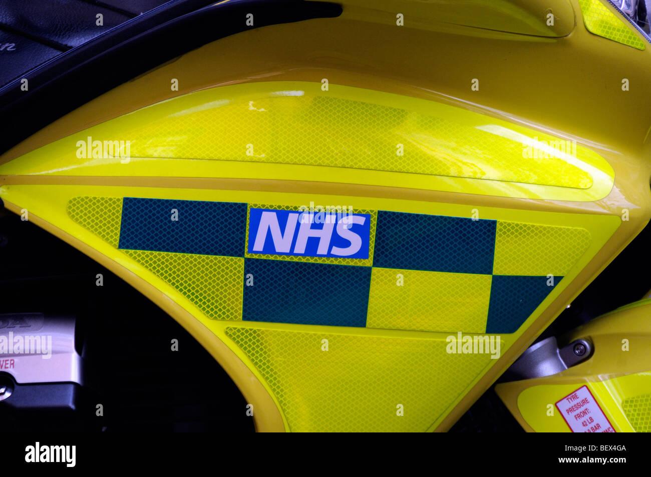 NHS sign on side of motor bike - Stock Image