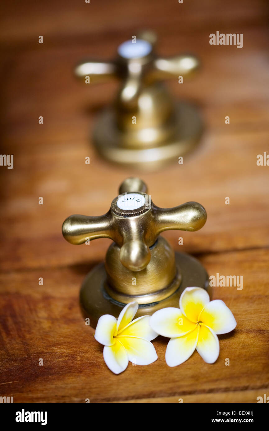 Vintage style hot and cold tap in SPA - Stock Image