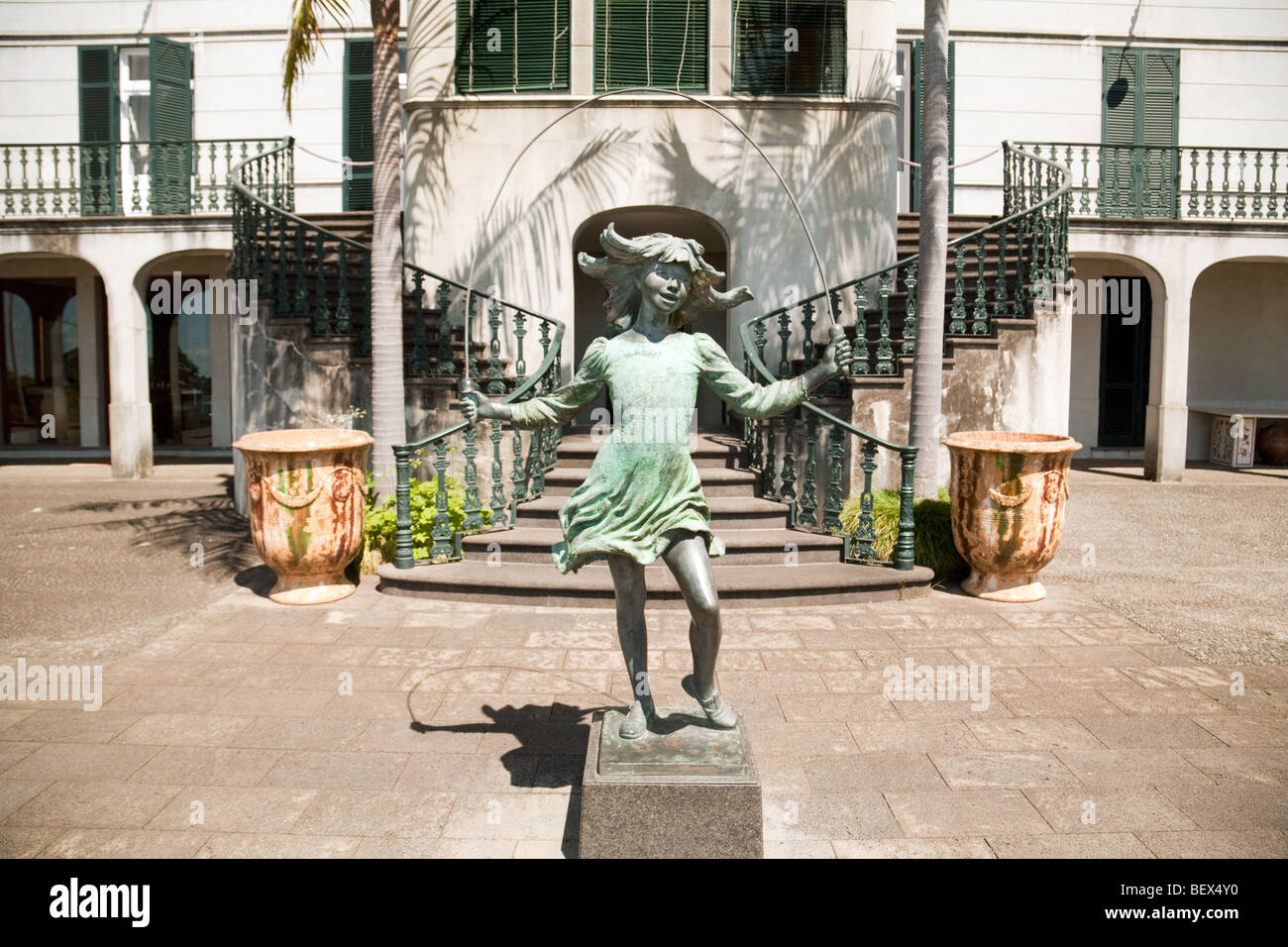 The Statue of a Skipping Girl by James Butler, in the Monte Palace Gardens, Monte, Funchal, Madeira - Stock Image