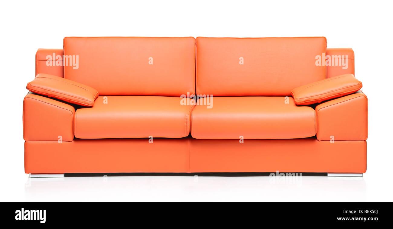 Orange leather sofa isolated on whitebackground - Stock Image
