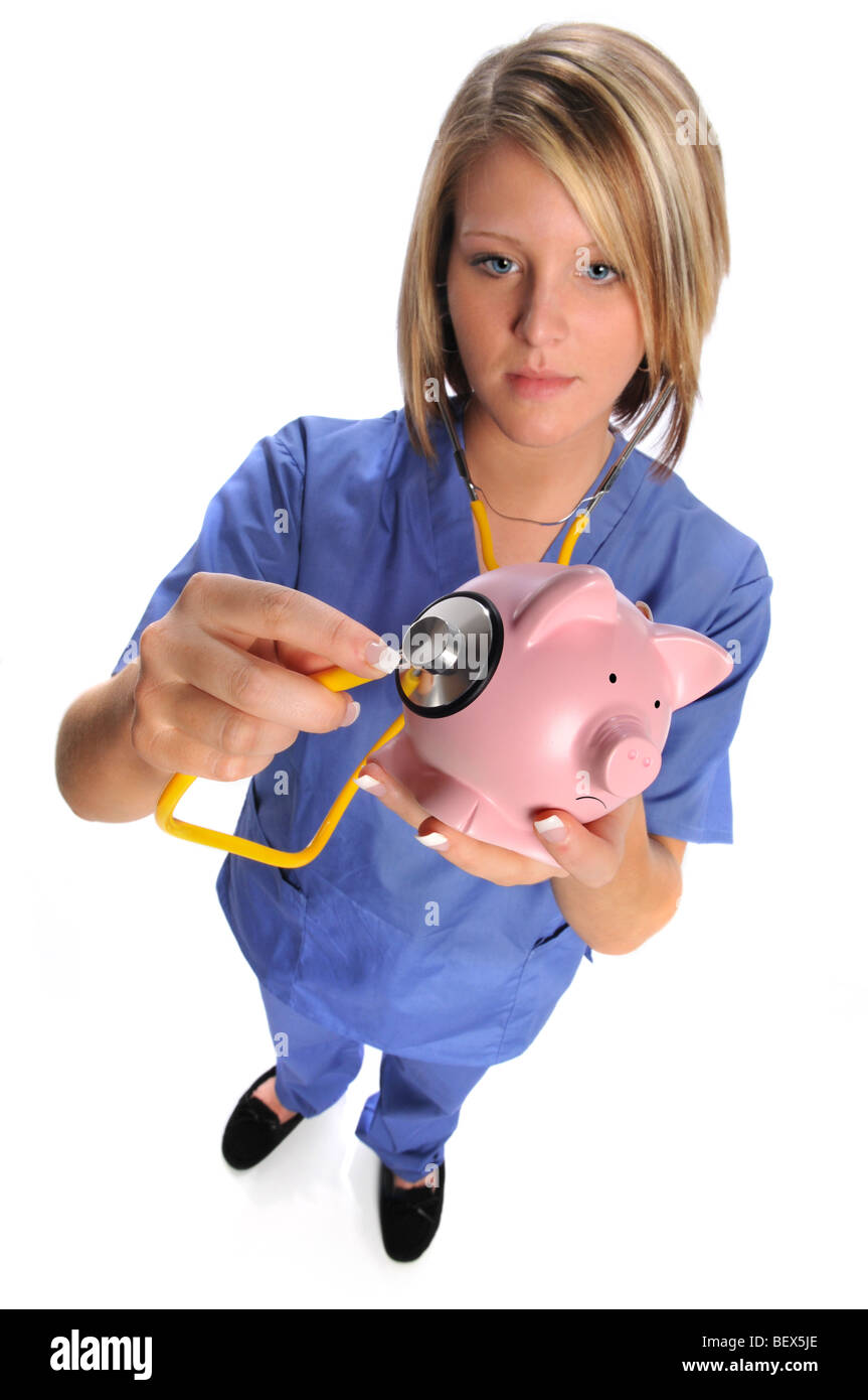 Healthcare concept with nurse or doctor giving pig a check up to symbolize the Swine flu epidemic - Stock Image