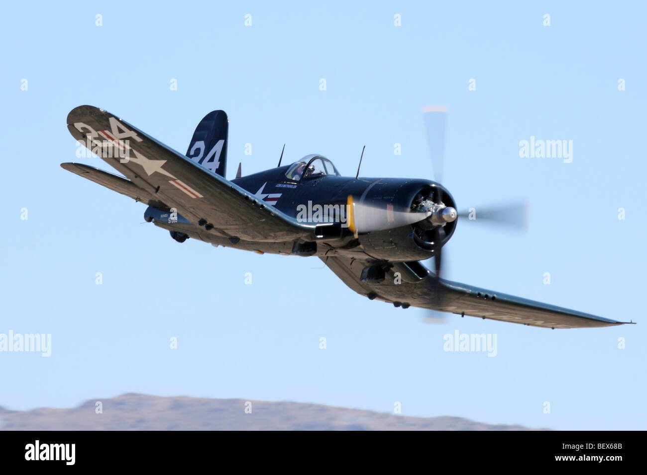 Chance Vought F4U-4 Corsair  during the 2009 Reno National Championship Air Races Unlimited Bronze finals. - Stock Image