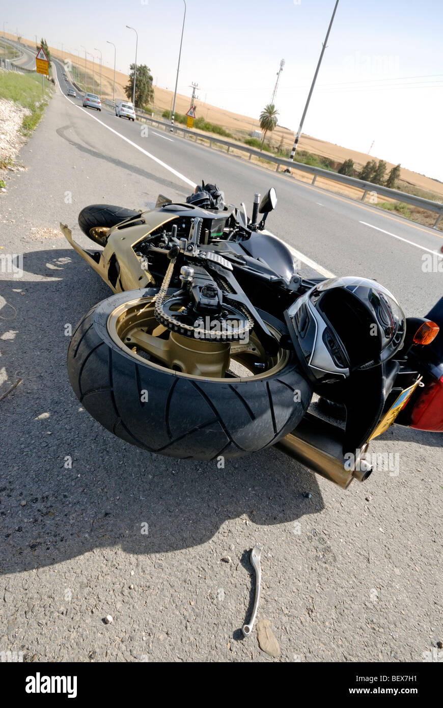 Israel, A motorbike lies on the road after a traffic collision - Stock Image