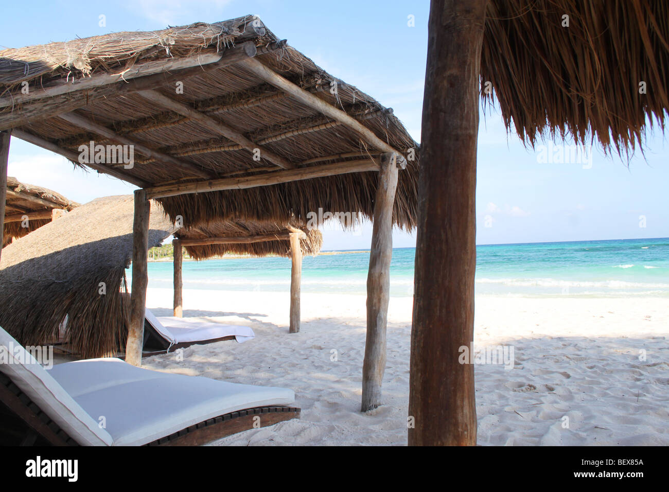 A Mexican beach with white sands and turquoise sea, Cancun's Riviera Maya, Mexico - Stock Image