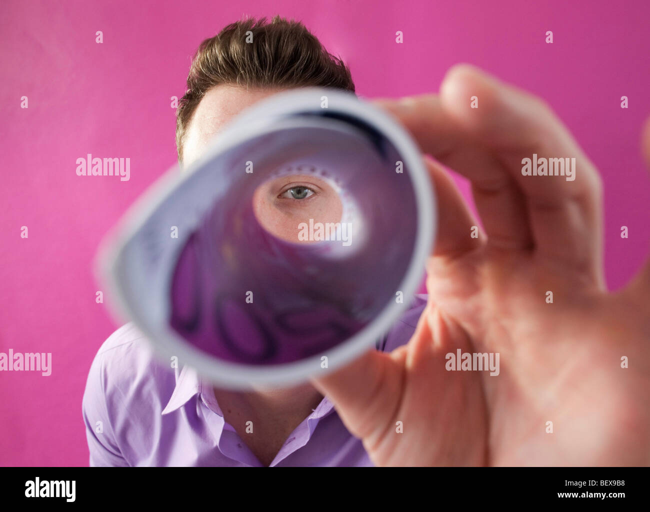 Young man with 500 Euro Banknote - Stock Image