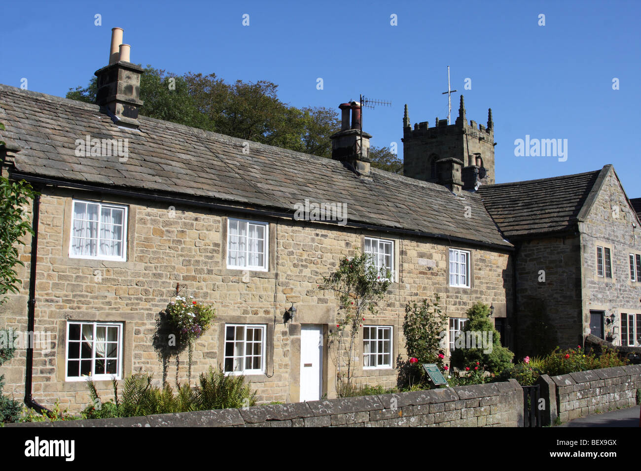 Plague cottages in the village of Eyam, Derbyshire, England, U.K. Stock Photo