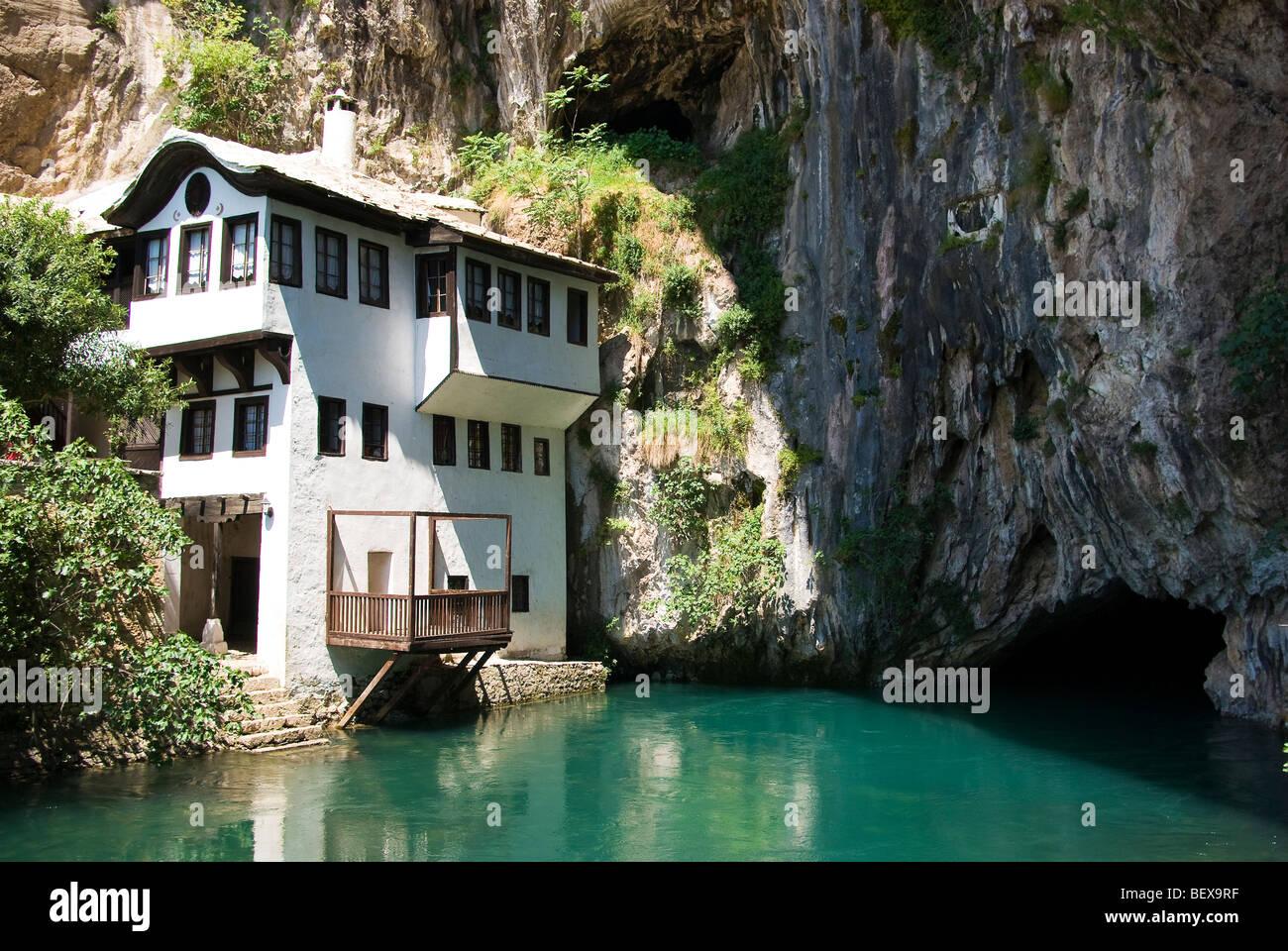 Medieval dervish tekija (Monastery) built by Ottomans, Buna springs, Bosnia & Herzegovina - Stock Image