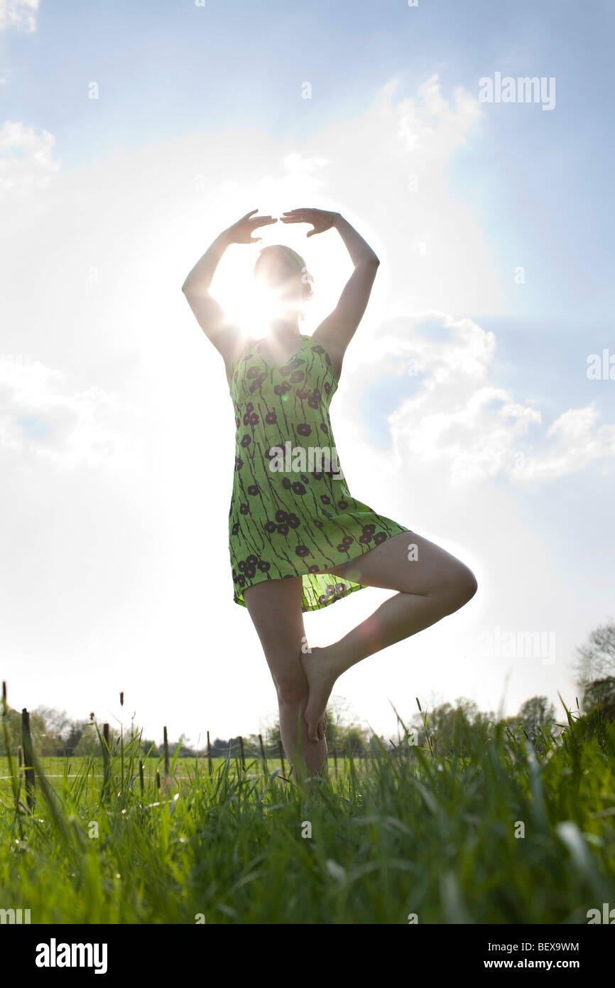 Young woman in spring . - Stock Image