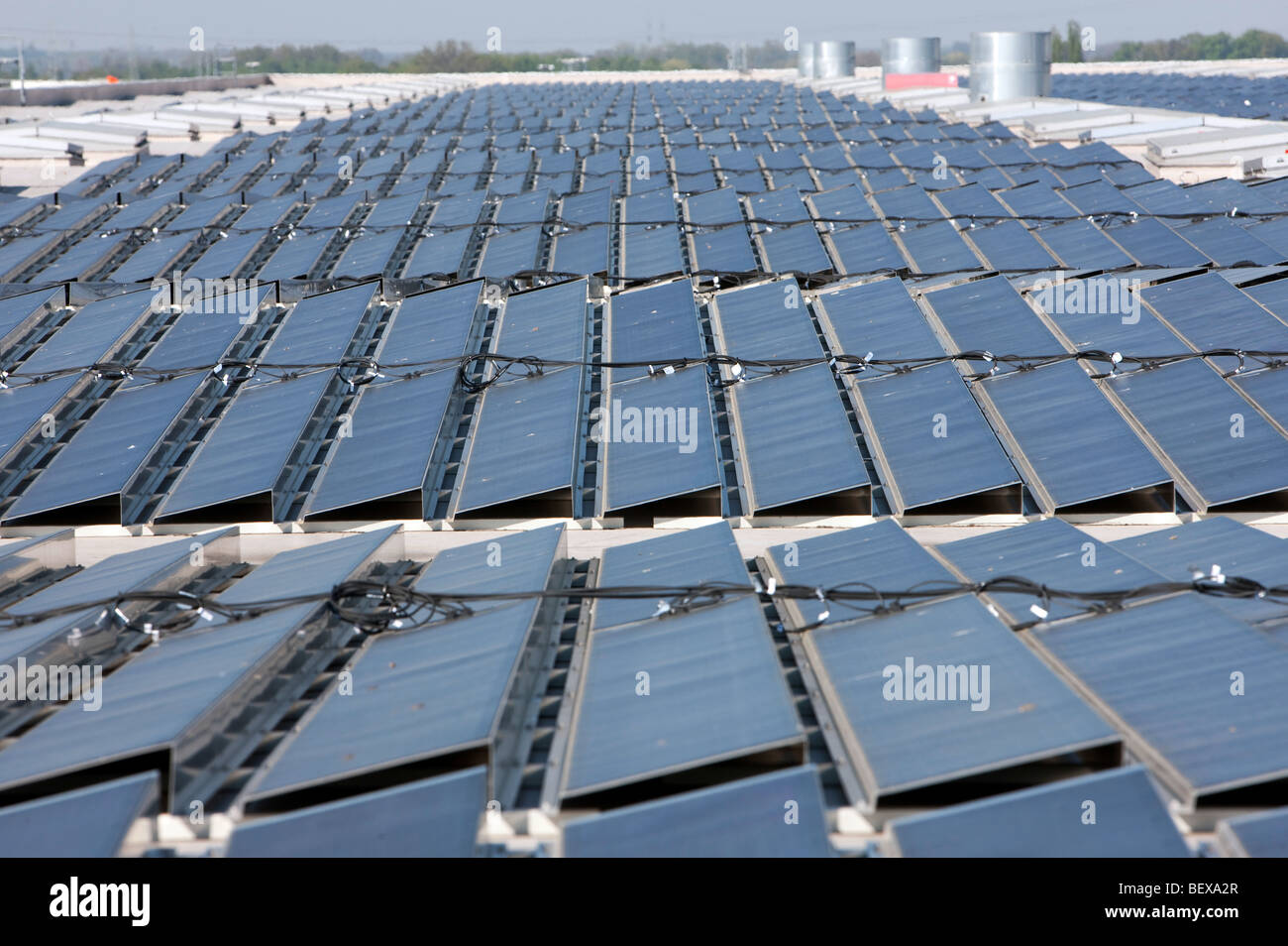 Photovoltaic system on the roof at Volkswagen AG - Stock Image