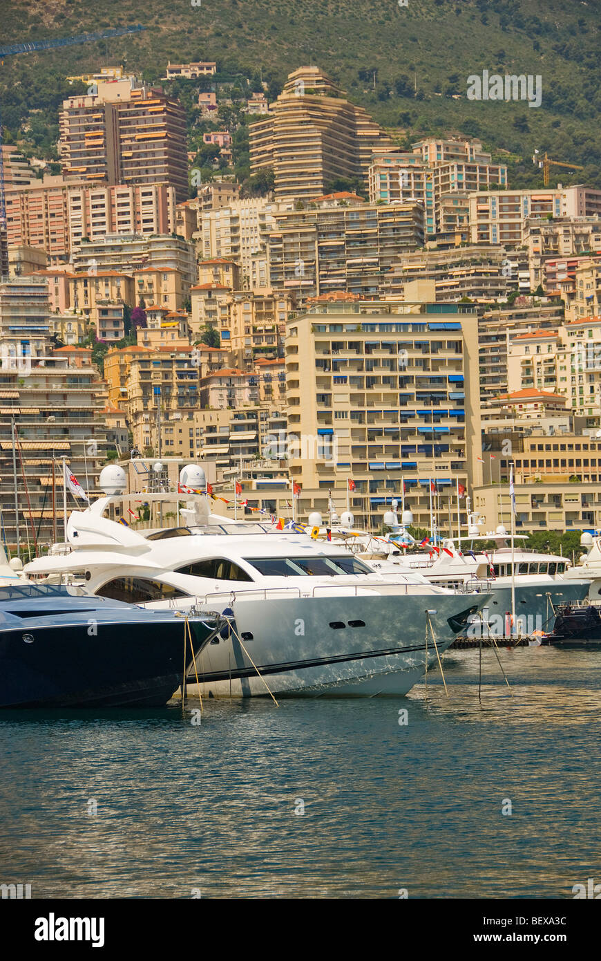 Cabin cruisers at Monte Carlo harbor - Stock Image