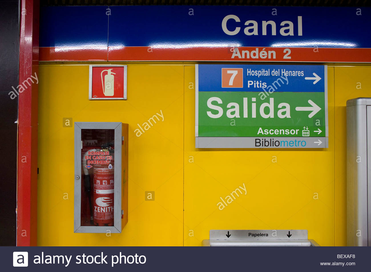 Madrid Subway Canal Station exit sign - Stock Image