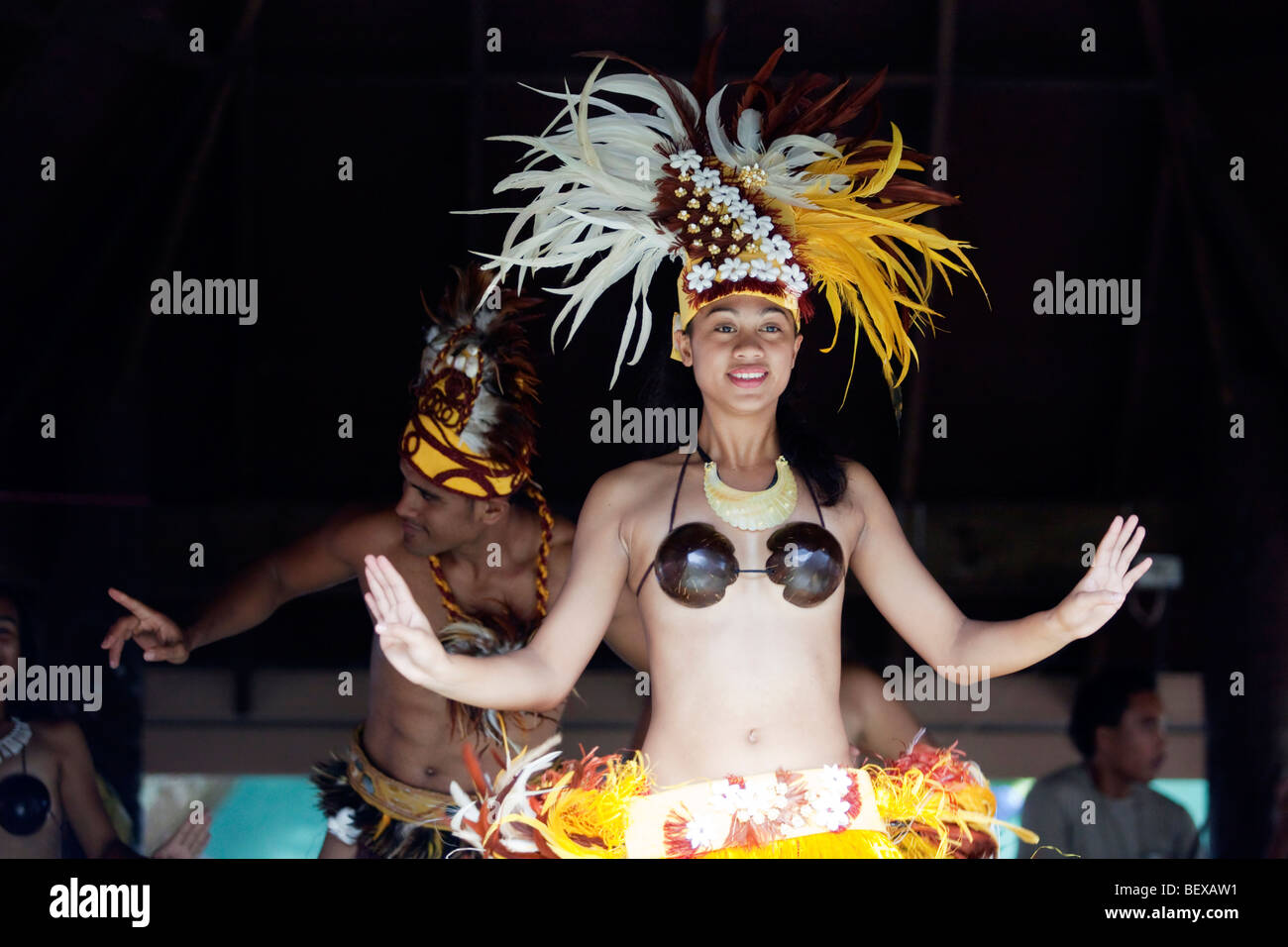 Traditional polynesian dancers on Rarotonga in The Cook Islands in The South Pacific - Stock Image