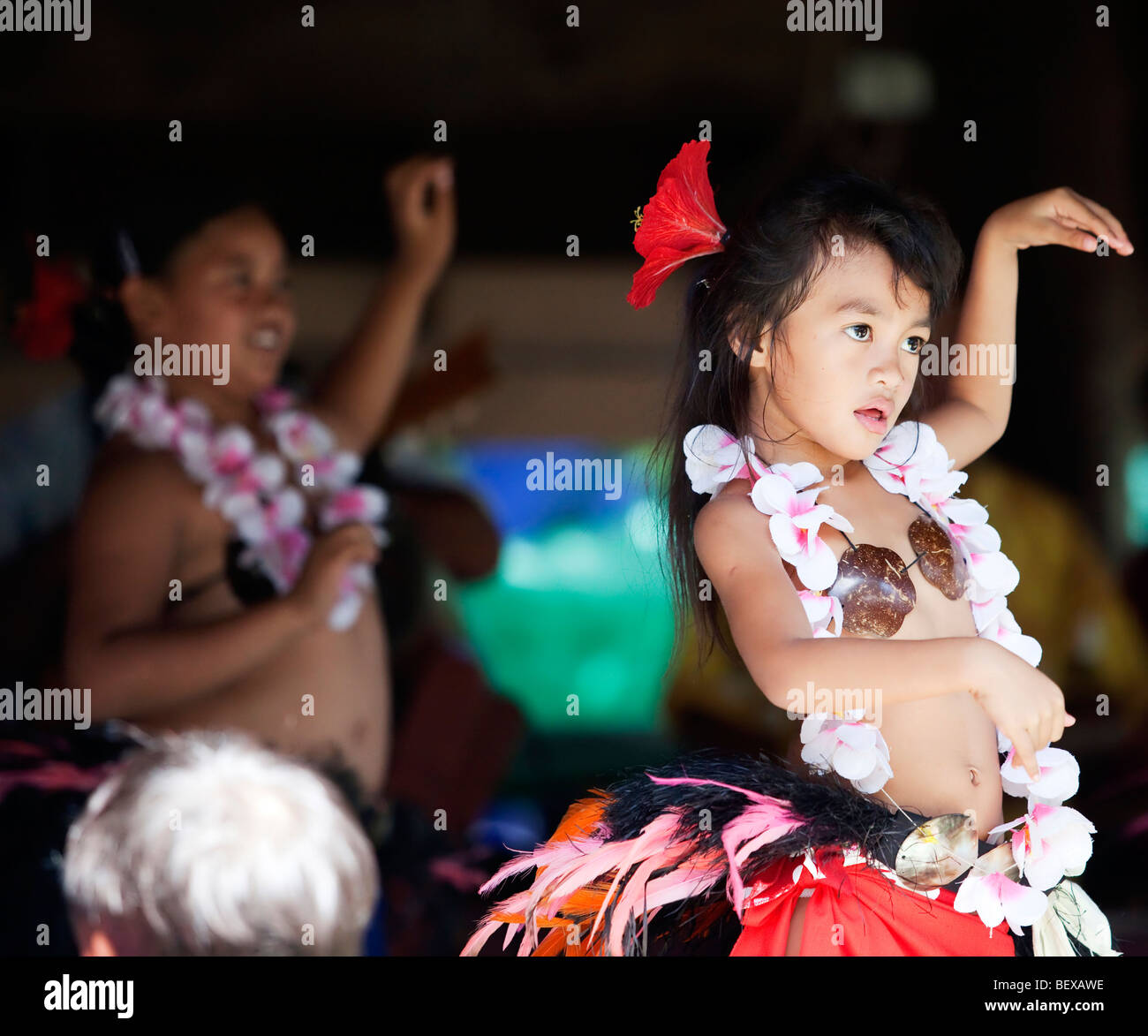 Young polynesian dancers on Rarotonga in The Cook Islands in The South Pacific - Stock Image