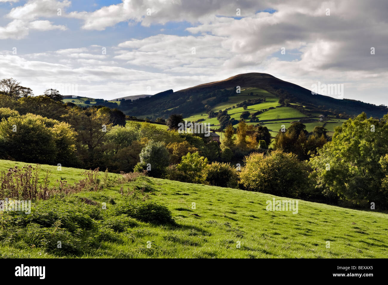 Picture over the Usk valley taken from Llangynidr moors on the B4560 Brecon Beacons national Park, Mid Wales - Stock Image