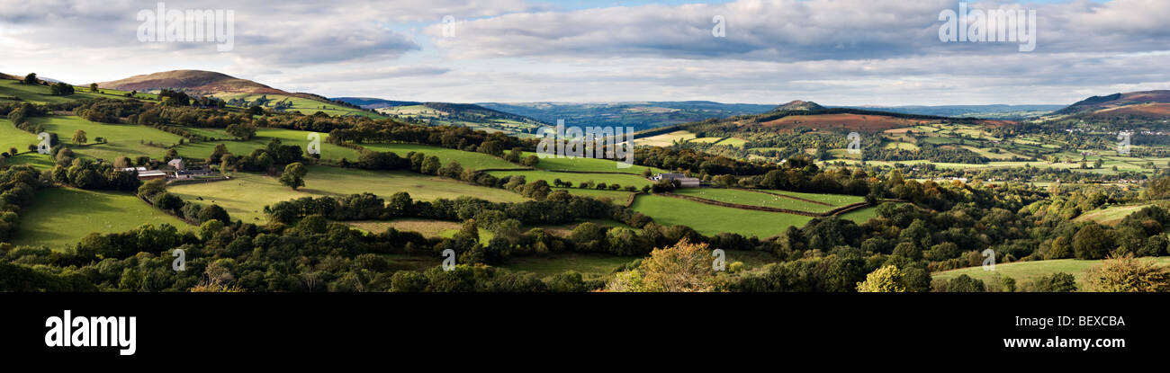 Panoramic picture over the Usk valley taken from Llangynidr moors on the B4560 Brecon Beacons national Park, Mid - Stock Image