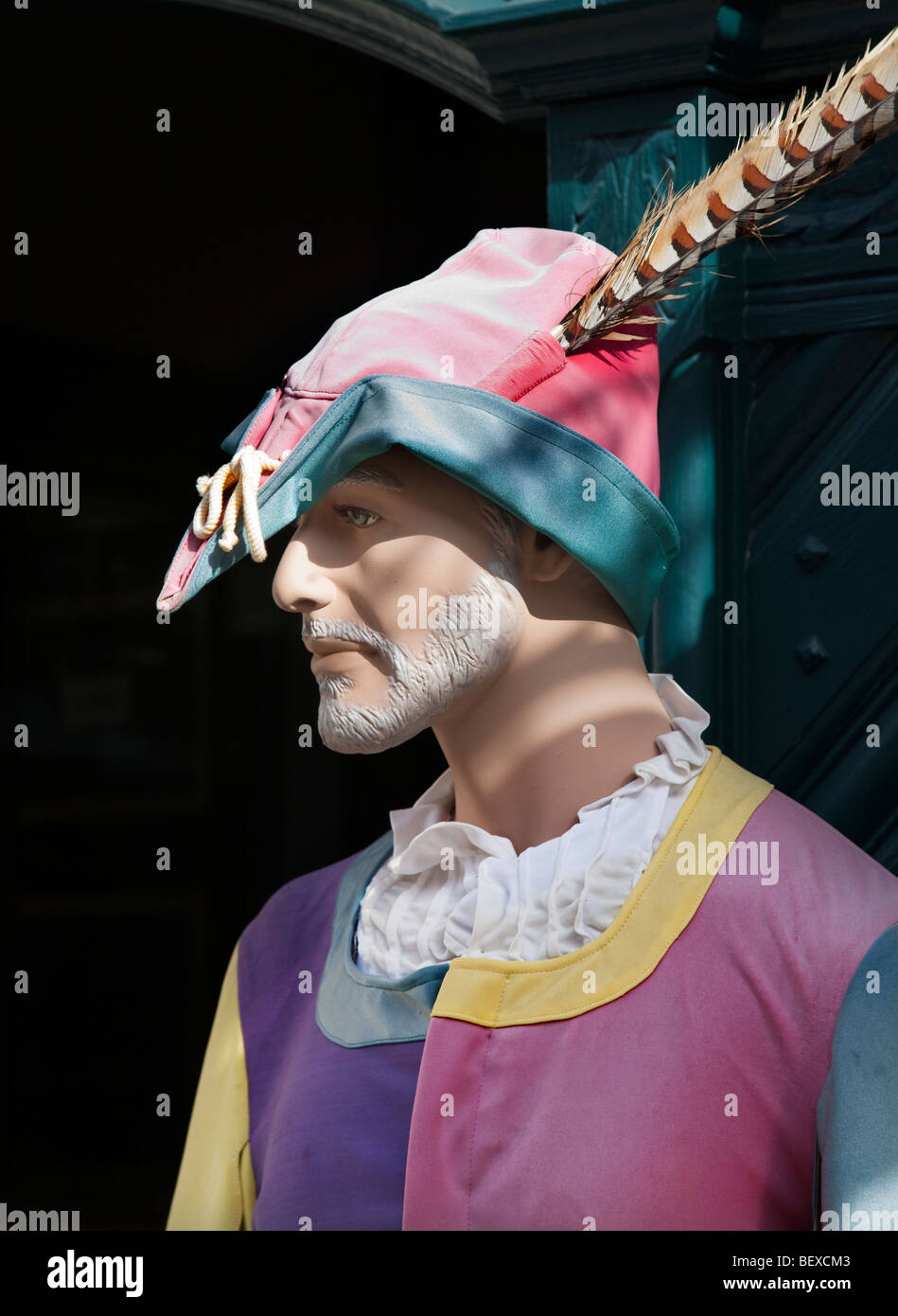 Pied Pier of Hamelin statue at museum Hamelin Germany - Stock Image