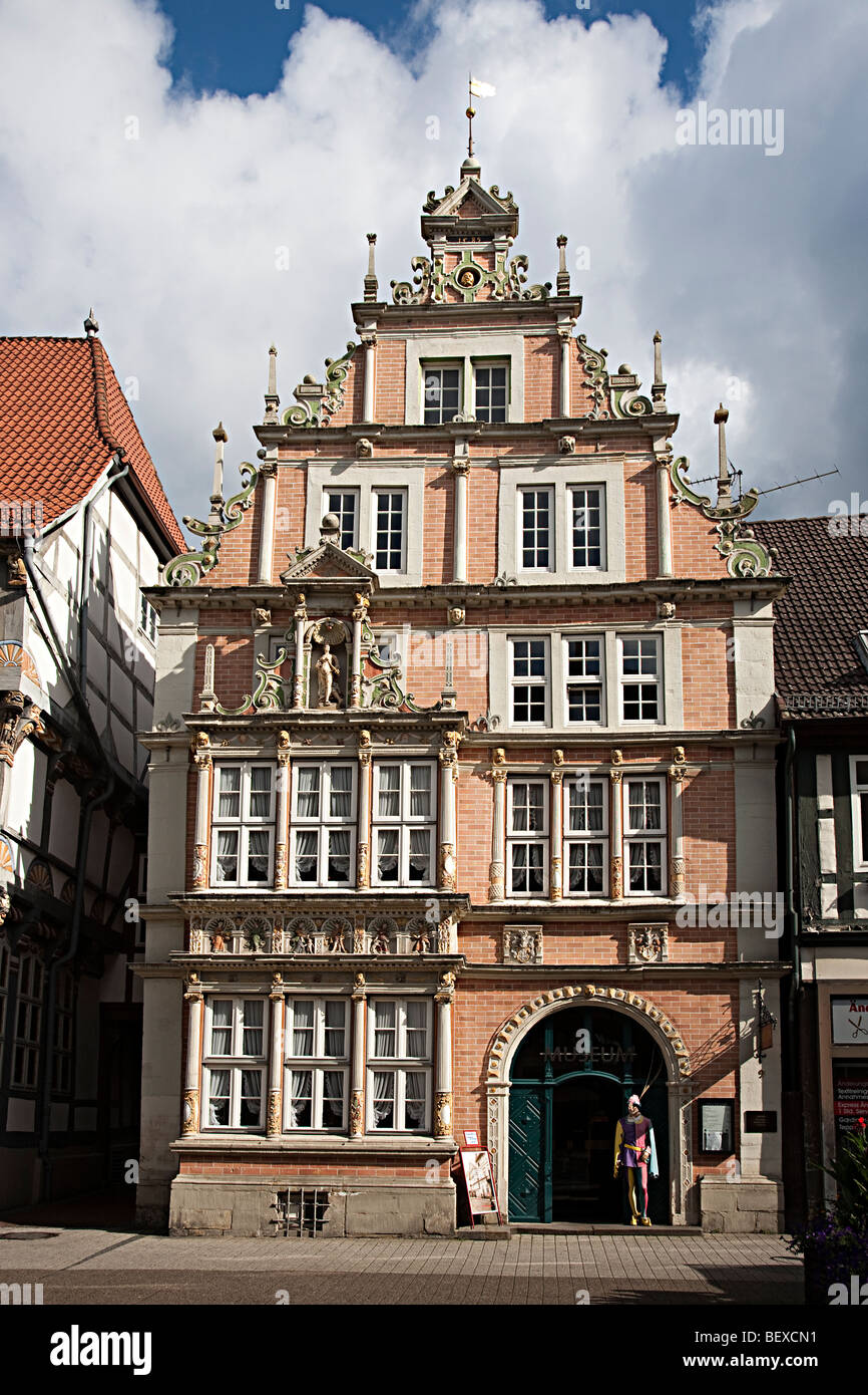 The museum building with the Pied Piper outside Hamelin Germany - Stock Image