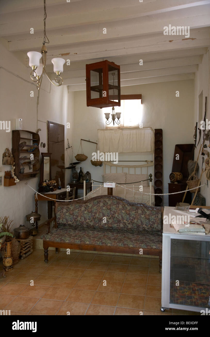 interior of takis and gregoria traditional house now lace museum in pano lefkara republic of cyprus europe - Stock Image