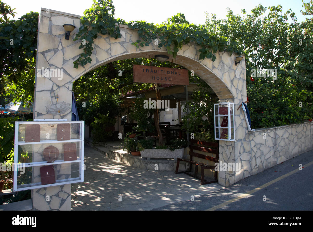 entrance to takis and gregoria traditional house now lace museum in pano lefkara republic of cyprus europe - Stock Image
