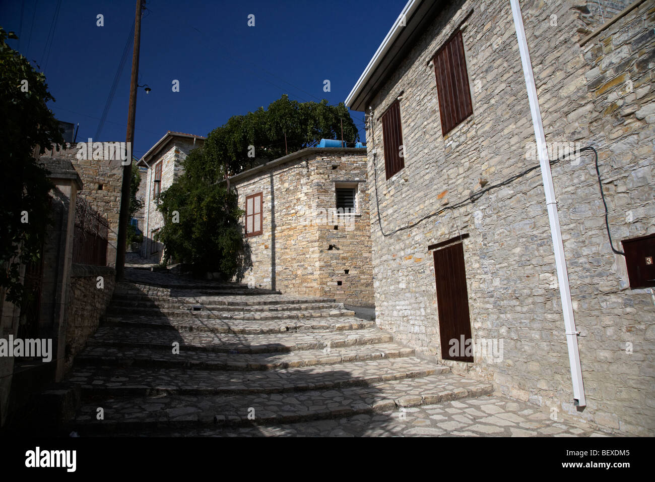 traditional stone houses and steep streets in pano lefkara republic of cyprus europe - Stock Image