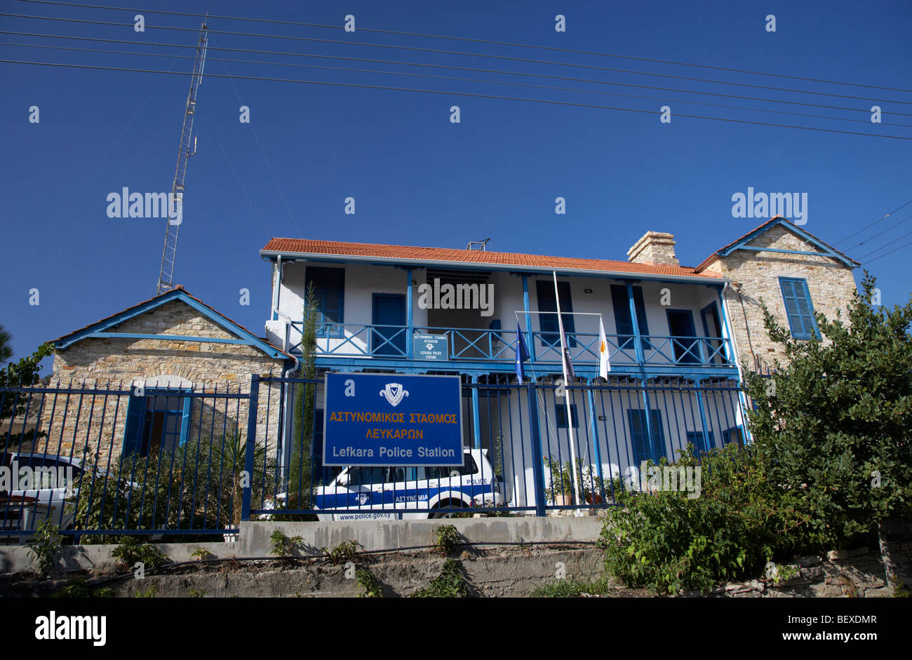 traditional stone house housing the lefkara cypriot police station in pano lefkara republic of cyprus europe - Stock Image