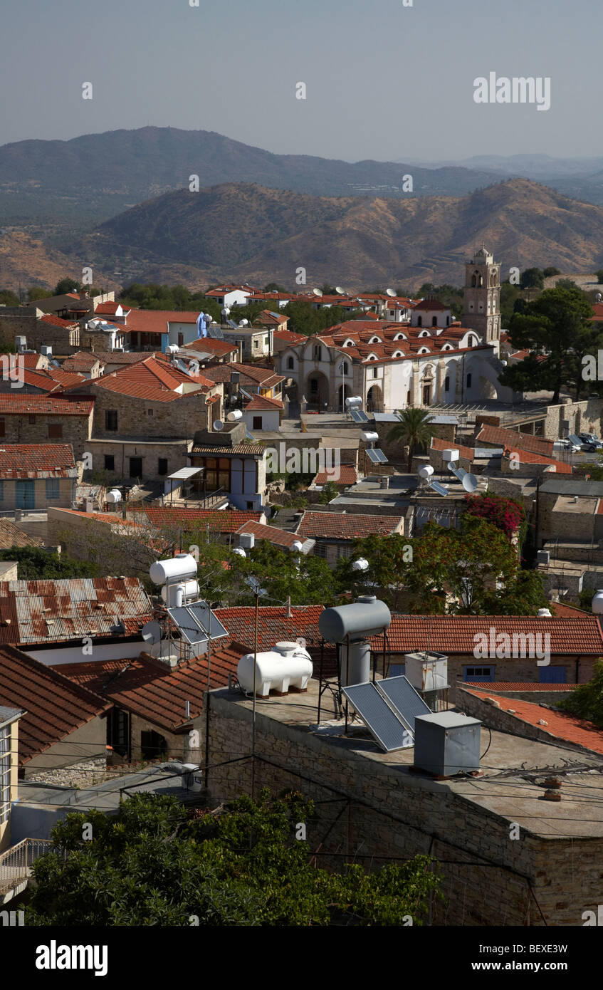 view over rooftops of traditional stone houses and steep streets in pano lefkara republic of cyprus europe - Stock Image