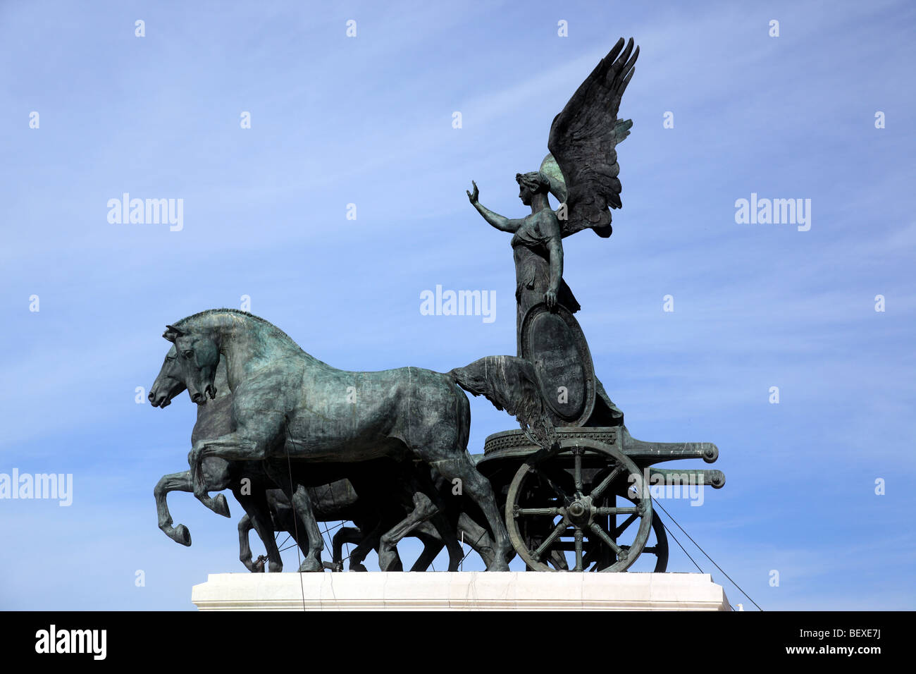 The Quadriga of Unity by Carlo Fontana atop the Victor Emmanuel Monument in Rome - Stock Image
