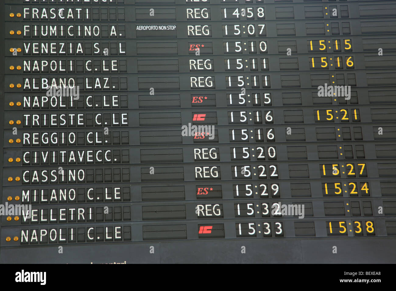Board showing departure times at Stazione Termini in Rome - Stock Image