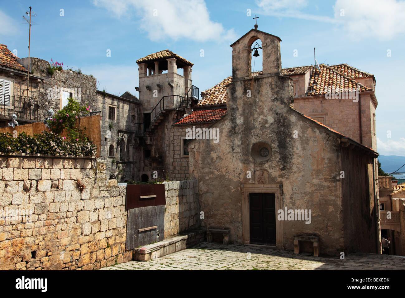 Church of All Saints on island of Korcula, Croatia - Stock Image