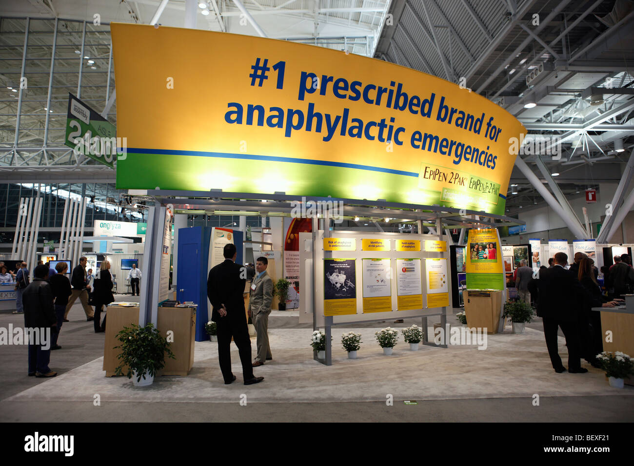 Drug company display at a physicians convention, Boston  Convention Center - Stock Image