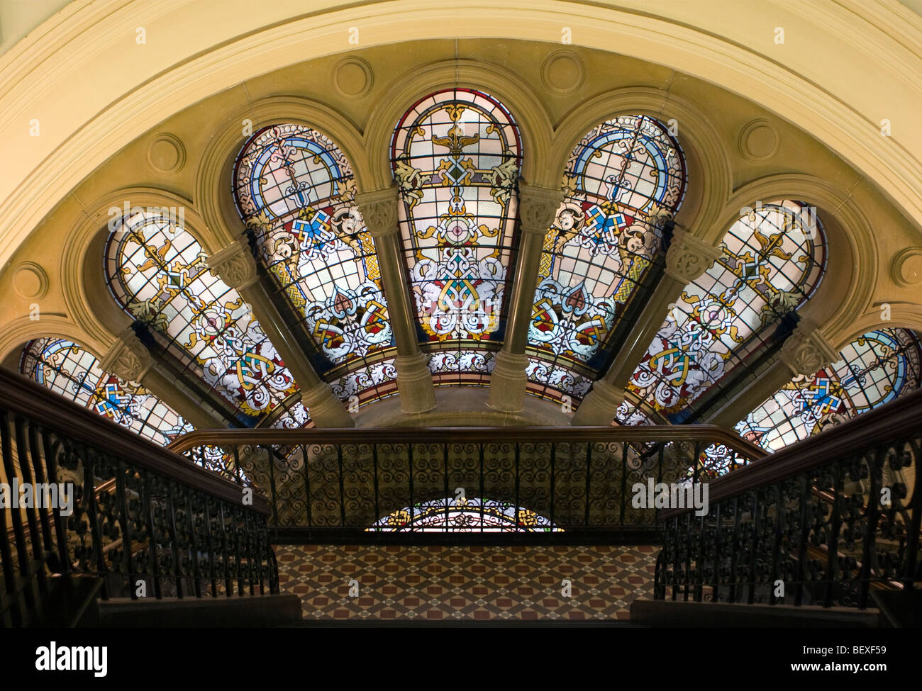 The ornate stained glass windows in the Queen Victoria Building, Sydney, Australia - Stock Image