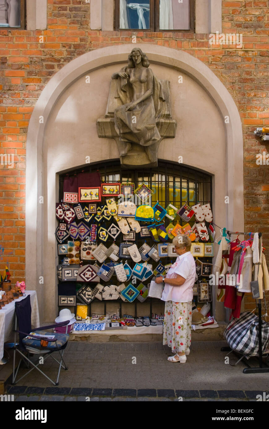 Souvenir shopping along Pilies gatve street in old town Vilnius Lithuania Europe - Stock Image