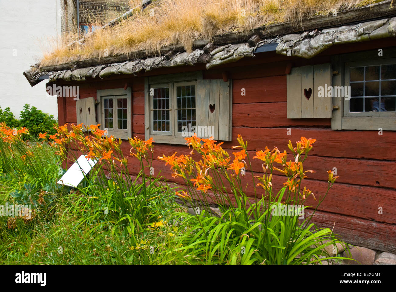 Onsj cottage at Kulturen the open air museum in Lund Skåne Sweden Europe - Stock Image