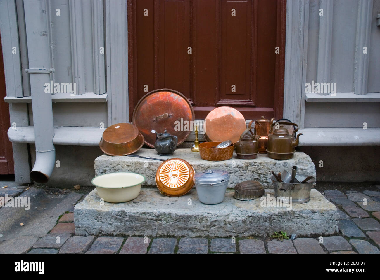 Copperware and other pots and pans Haga district Gothenburg Sweden Europe - Stock Image