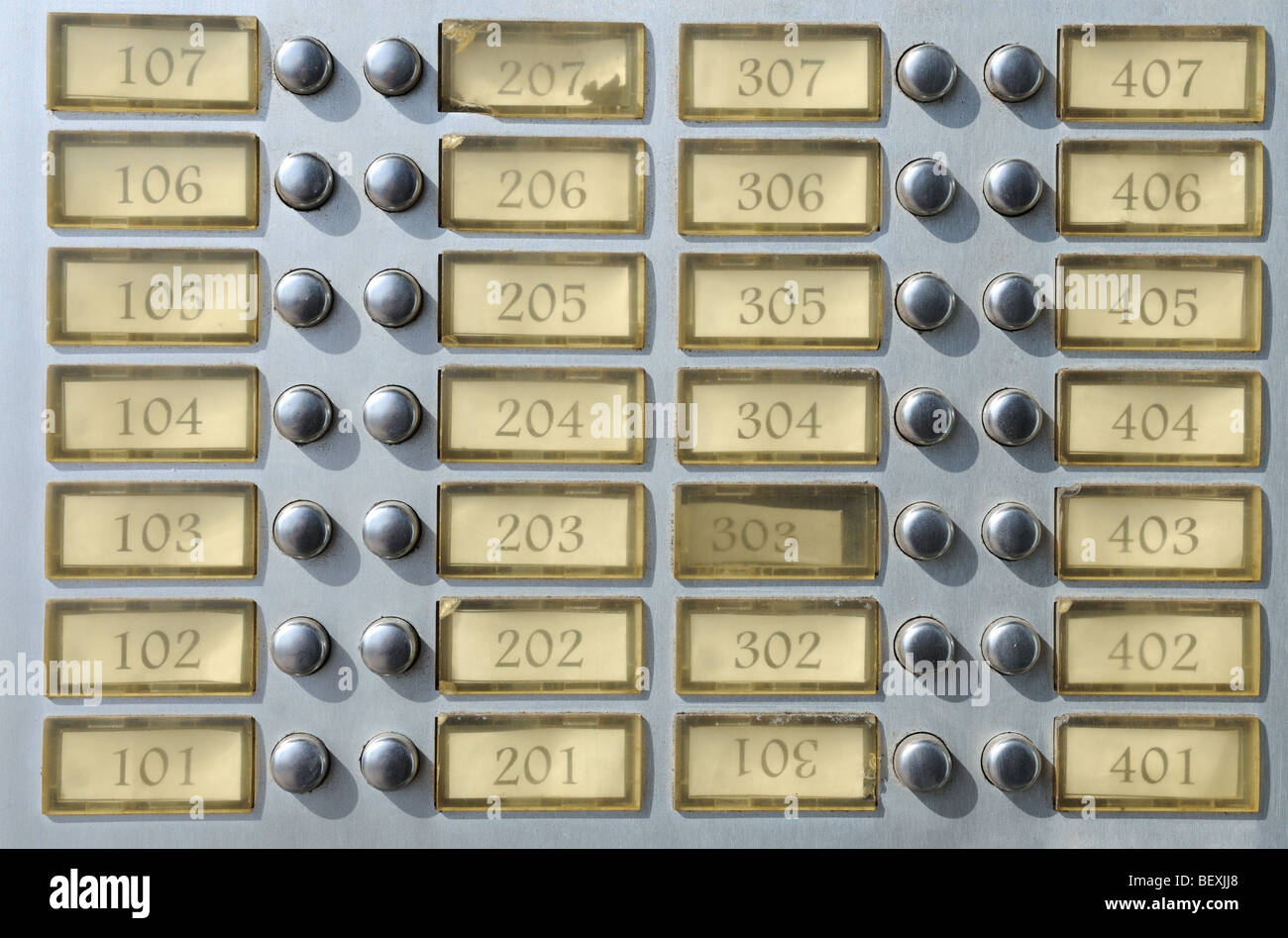 Apartment House Doorbell Plate With Numbers   Stock Image