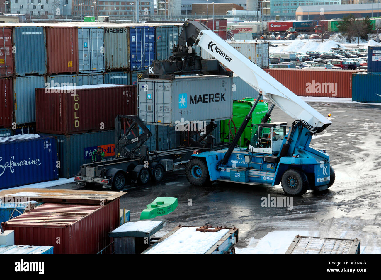Kalmar container lifting vehicle working at Trondheim harbour Norway - Stock Image