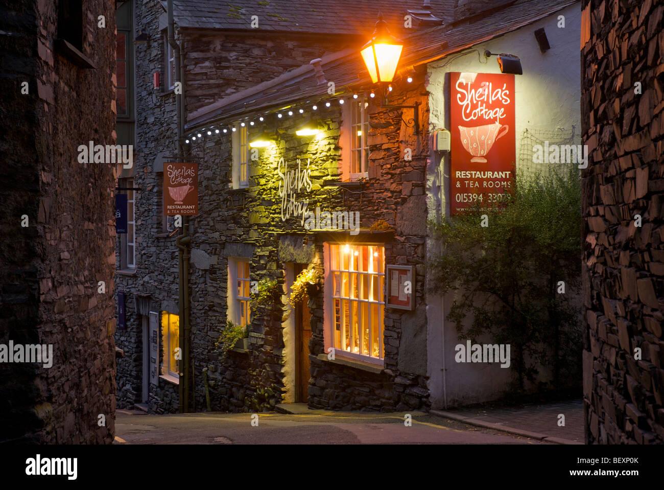 Sheila's Cottage, restaurant, The Slack, Ambleside, Lake District National Park, Cumbria, England UK - Stock Image