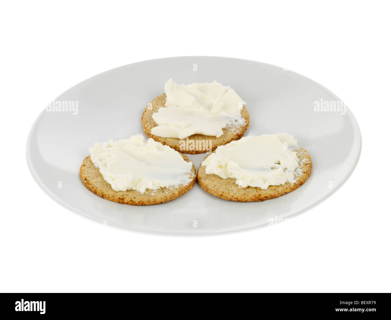 Oatcakes with Soft Cheese - Stock Image