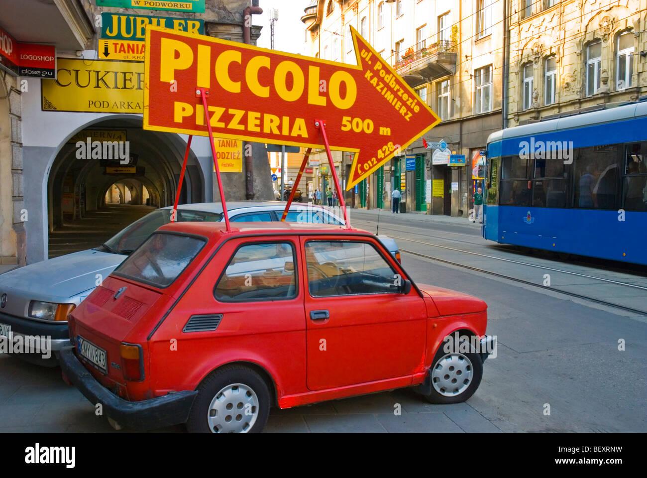 Advertising in Kazimierz district Krakow Poland Europe - Stock Image