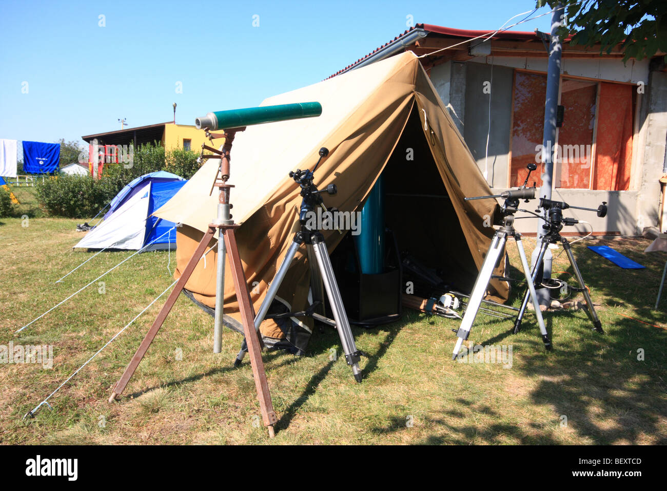 Astrocamp with telescopes and instruments in southern Slovakia - Stock Image