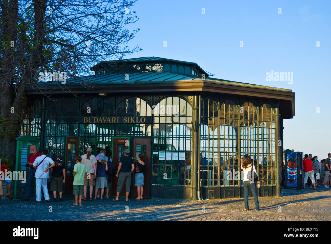 The funicular station upon Castle Hill Budapest Hungary Europe Stock Photo