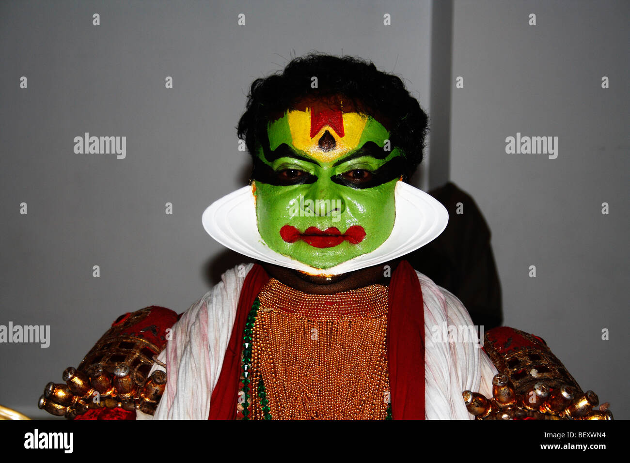 kathakali,face painted, indian drama,classical,cutout,portrait,s a highly stylised classical Indian dance-drama - Stock Image