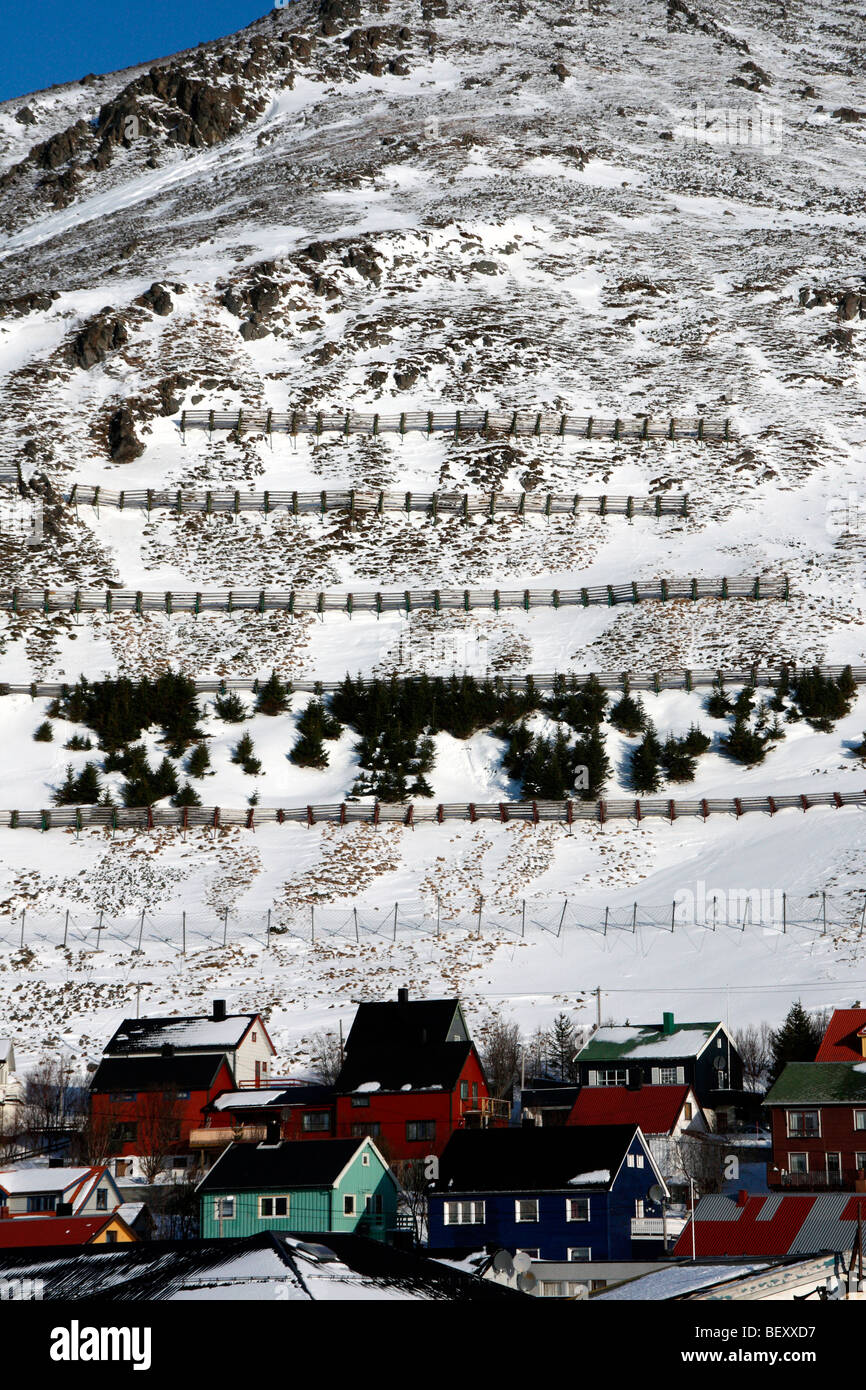 Avalanche breaks at Honningsvag Norway - Stock Image