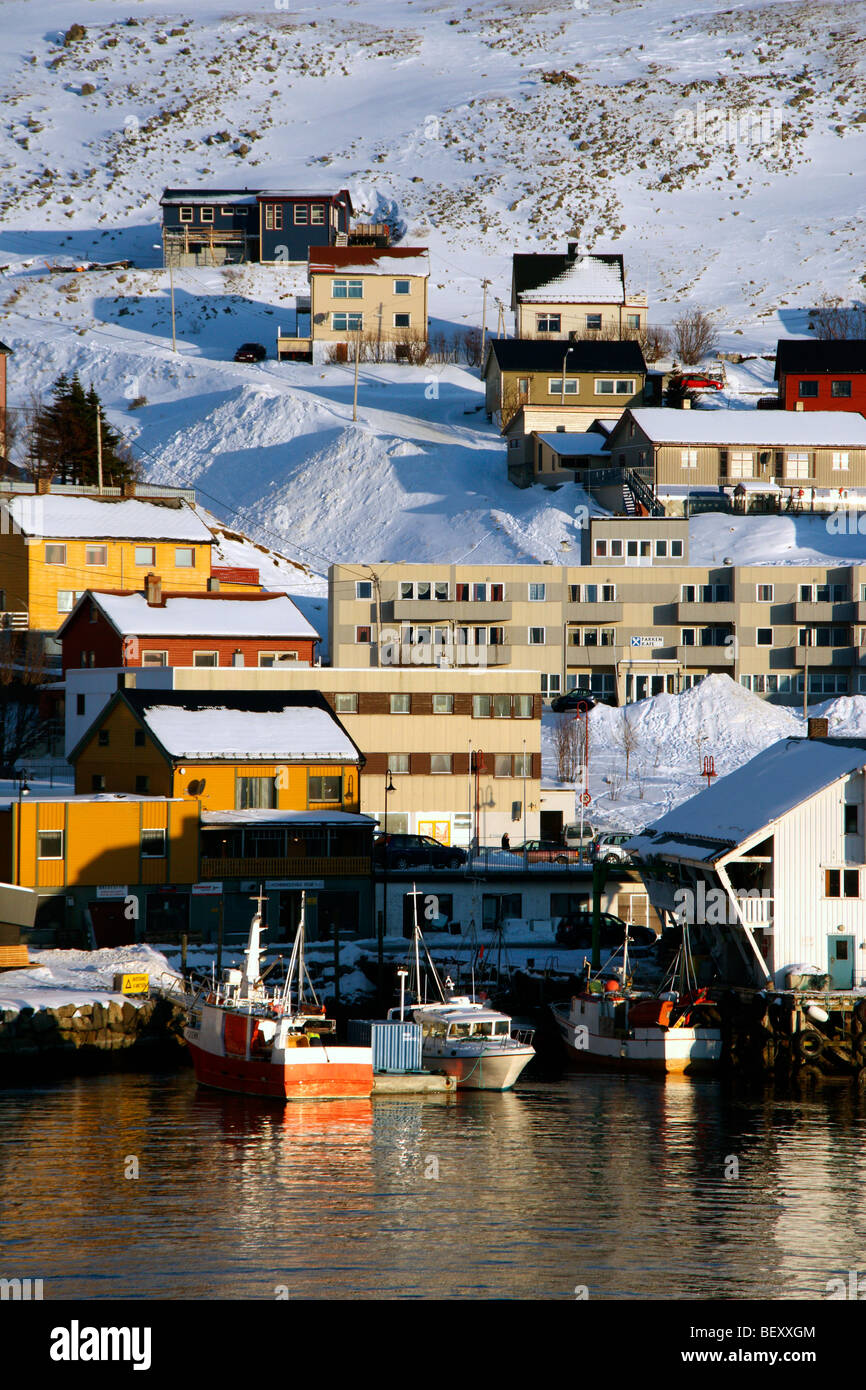 Fishing boats in the harbour at Honningsvag Norway - Stock Image