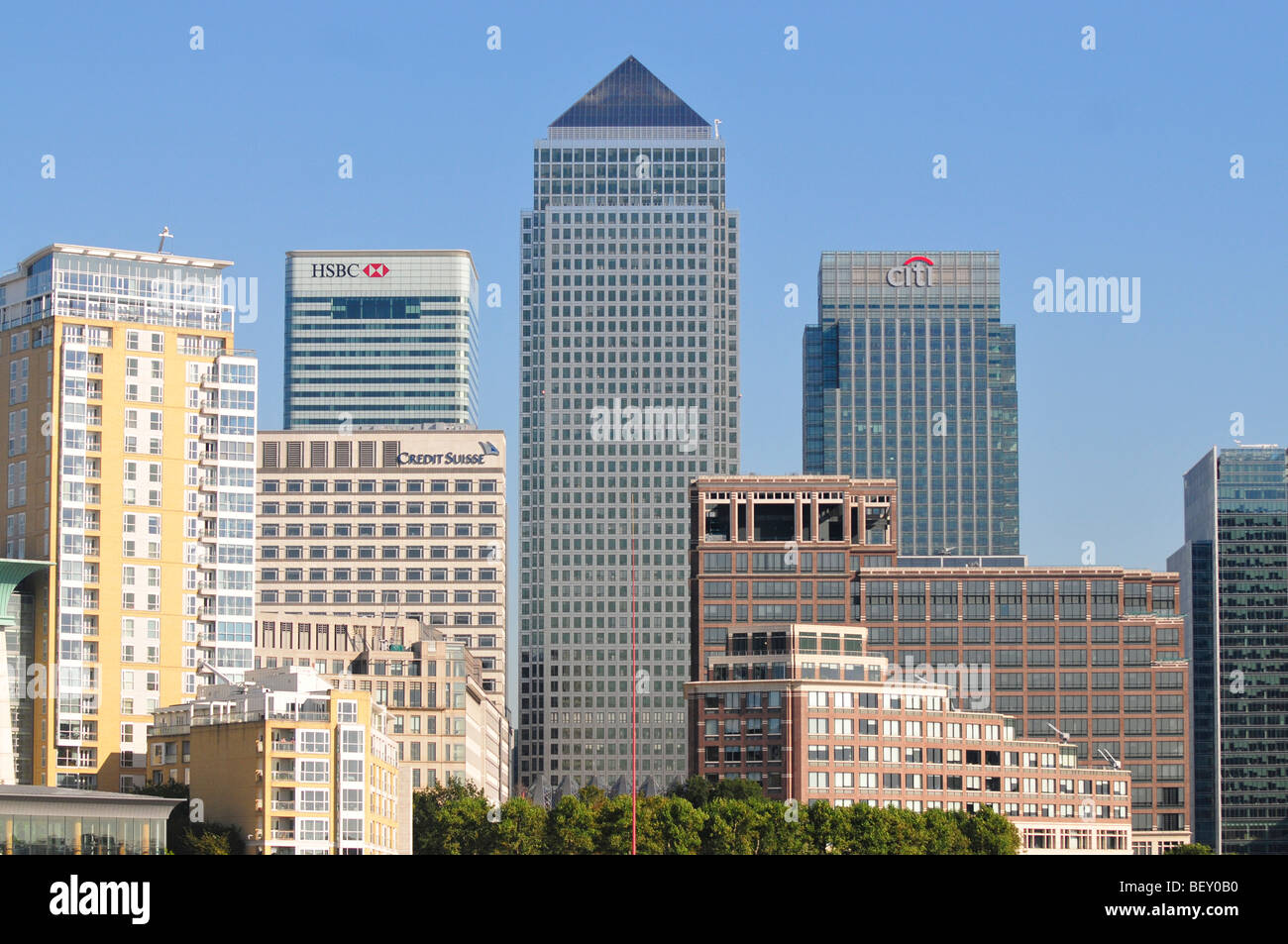 Canary Wharf Area of the London Docklands - Stock Image