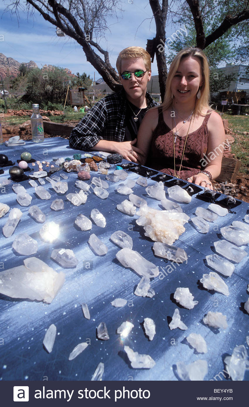 John and Laura sell cristals during their vacations. Sedona, Arizona, USA - Stock Image